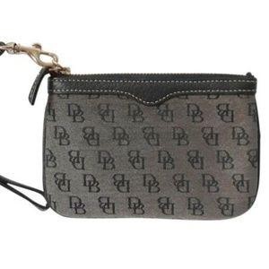 Dooney Bourke Wristlet Wallet Fabric Leather Zips
